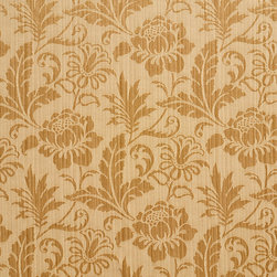 Gold Two Toned Floral Metallic Sheen Upholstery Fabric By The Yard - This multipurpose fabric is great for residential upholstery, bedding and drapery. This material is woven for enhanced elegance. The sheen of this material varies depending on the light for a unique appearance.