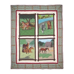 Patch Magic - Horse Friends Throw - 50 in. W x 60 in. L. 100% Cotton. Handmade, hand quilted. Machine washable. Line or flat dry only