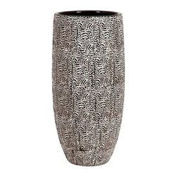 Black and White Modern Vase - *With a dimensional zebra inspired pattern and sleek black interior, the Sienna vase adds interest to any Decor. Pair with a simple bold colored vase for maximum impact!