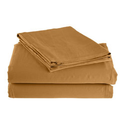300 Thread Count Twin Sheet Set Bamboo Solid - Gold - As soft as silk and as durable as cotton, these bamboo derived sheets are at the meeting point of style, comfort and durability. Made from 100% Bamboo derived Rayon, this set of sheets allows your body to breathe in the summer while keeping you warm in the winter. Set includes One Flat Sheet 68x99, One Fitted Sheet 40x77, and One Pillowcase 21x32.