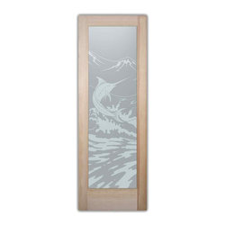 """Bathroom Doors - pd priv Interior Glass Doors Frosted Marlin - CUSTOMIZE YOUR INTERIOR GLASS DOOR!  Interior glass doors or glass door inserts.  .Block the view, but brighten the look with a beautiful interior glass door featuring a custom frosted privacy glass design by Sans Soucie! Suitable for bathroom or bedroom doors, there are no clear areas on this glass.  All surface areas are etched/frosted to be 100% opaque.  Note that anything pressed up against the glass is visible, and shapes and shadows can be seen within approx. 5-12"""" of the glass.  Anything 5-12"""" from the glass surface will become obscured.  Beyond that distance, only lights and shadows will be discernible. Doors ship for just $99 to most states, $159 to some East coast regions, custom packed and fully insured with a 1-4 day transit time.  Available any size, as interior door glass insert only or pre-installed in an interior door frame, with 8 wood types available.  ETA will vary 3-8 weeks depending on glass & door type........  Select from dozens of sandblast etched obscure glass designs!  Sans Soucie creates their interior glass door designs thru sandblasting the glass in different ways which create not only different levels of privacy, but different levels in price.  Bathroom doors, laundry room doors and glass pantry doors with frosted glass designs by Sans Soucie become the conversation piece of any room.   Choose from the highest quality and largest selection of frosted decorative glass interior doors available anywhere!   The """"same design, done different"""" - with no limit to design, there's something for every decor, regardless of style.  Inside our fun, easy to use online Glass and Door Designer at sanssoucie.com, you'll get instant pricing on everything as YOU customize your door and the glass, just the way YOU want it, to compliment and coordinate with your decor.   When you're all finished designing, you can place your order right there online!  Glass and doors ship worldwide, custom packed"""