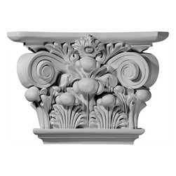 """Ekena Millwork - Acanthus Leaf Capital (Fits Pilasters up to 9 1/2""""W x 1 3/4""""D) - 17 1/2""""W x 11 7/8""""H x 5 1/4""""D Acanthus Leaf Capital (Fits Pilasters up to 9 1/2""""W x 1 3/4""""D). Our appliques and onlays are the perfect accent pieces to cabinetry, furniture, fireplace mantels, ceilings, and more. Each pattern is carefully crafted after traditional and historical designs. Each polyurethane piece is easily installed, just like wood pieces, with simple glues and finish nails. Another benefit of polyurethane is it will not rot or crack, and is impervious to insect manifestations. It comes to you factory primed and ready for your paint, faux finish, gel stain, marbleizing and more."""