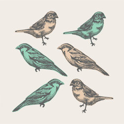 Simple Shapes - Birds - Birds peel & stick fabric stickers. This re-positionable sticker is designed and made in our studios in New Jersey. The designs are printed onto an adhesive backed fabric that can be removed, repositioned and reused over and over again.