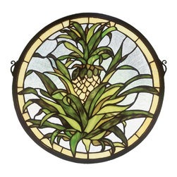 Meyda Tiffany - Meyda Tiffany 48550 Welcome Pineapple Window - The pineapple, a traditional sign of welcome, is depicted in this Meyda Tiffany original window of Honey Gold fruit with Tropical Green foliage on a Clear seedy background. Handcrafted utilizing the copperfoil construction process and more than 210 pieces of stained art glass encased in a solid brass frame. Mounting bracket and jack chain included.