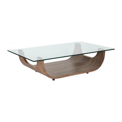 White Line Imports - Contemporary Coffee Table - Modern design coffee table with 0.5 in. tempered clear glass top. Natural walnut veneer base. Wipe clean with a dry cloth. No assembly required. 49 in. W x 30 in. D x 13 in. H (134 lbs.)