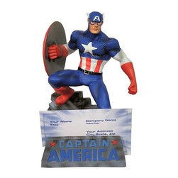 KOOLEKOO - Captain America Business Card Holder - Marvel Universe Captain America Business Card Holder. Let Captain America stand guard over your desk, with this great Marvel Universe Captain America Business Card Holder! Fits most standard business card sizes.