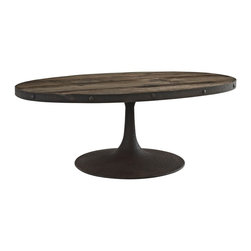 INDUSTRIAL BROWN RUSTIC OVAL COFFEE TABLE SAMSON - Stylish modern industrial rustic oval coffee table with black pine wood top and iron stand.