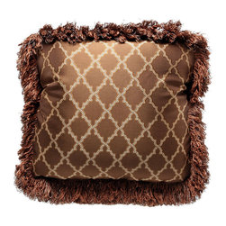Brandi Renee Designs - Mocha Pillow with Lattice Print and Brown Loop Fringe - Relaxing, yet sophisticated - there's something about mocha brown décor that has a distinct style. Maybe it's the effortless warmth or versatility, but this dark chocolate accent has a charming allure that works well with most interiors. The rich brown fabric is balanced with a lovely golden lattice print for visual interest. Joined with a cozy polyfill insert, it's a great accessory piece for any lounge or sitting area.