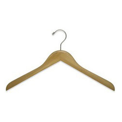 "17"" Flat Wood Garment Hangers with shiny chrome hooks - Box of 50 hangers."