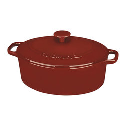 Cuisinart - Cuisinart Red Chef's Classic Enameled Cast Iron 5.5-Quart Oval Casserole - Cast iron construction provides superior heat retention and even heat distribution