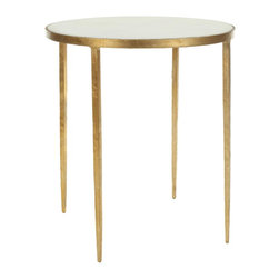 Safavieh - Tracey Accent Table - The elegant curved legs of the Rex accent table add drama to traditional and transitional interiors while providing a see-through effect that visually opens small spaces. Crafted from solid iron with warm vintage gold finish, the table comes with a granite top as practical as it is good-looking.
