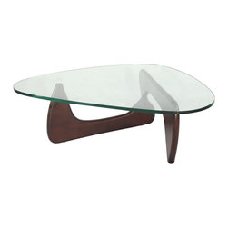 "Hampton Modern - Isamu Noguchi Coffee Table with Dark Walnut Base - The Noguchi Style Coffee Table features a freeform 3/4"" thick tempered beveled glass top resting on a curved hardwood base. Through creative design, it is both sturdy and fashionable. An excellent choice for smaller living rooms due to the ""see-through effect"" of the glass top, it is a perfect complement to clean living room sets."