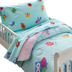 Wildkin - Olive Birdie Toddler Comforter - Our Birdie bedding is something to tweet about! The comforter/quilt is scattered with birds, flowers and birdhouses on a robins egg blue. Rows of flowers are at top and bottom. Super soft, 100% cotton.