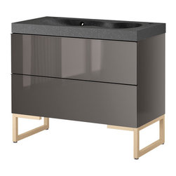 IKEA of Sweden/Francis Cayouette/Eva Lilja Löwenhielm - GODMORGON/BREDVIKEN Sink cabinet with 2 drawers - Sink cabinet with 2 drawers, gray, birch