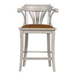 "Stanley Furniture - Arrondissement Soleil Counter Stool - Vintage Neutral Finish - Imagine enjoying your cafe au lait and croissant as the sun rises perched in the Soleil Counter Stool. This elegant, yet relaxed, design invites you to while away the hours with its pairing of a Saddle Leather seat and antique brass nailhead trim. Seat 19"" W X 16 3/4"" D Arm Height: 33"" H Made to order in America."