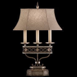 Fine Art Lamps - Villa Vista One-Light Table Lamp in Hand Painted Driftwood Finish On Metal with - Table lamp in hand painted driftwood finish on metal with silver leafed accents and hand-sewn driftwood linen shade.  - Shade Dimensions: 15 x 7 22 x 11 10.25  - Switch: In Socket 3 Way 50-100-150 Watts  - Fine Art Lamps is world-renowned for original elegant lighting designs favored by discerning designers architects consumers and luxury homebuilders. Exquisite finishes are the company's hallmark and many finishes take countless steps to achieve the desired effect. Each finish is handcrafted making it a one-of-a-kind work of art. Fine Art Lamps - 810010ST