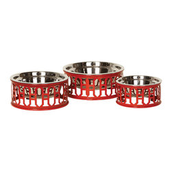 Unleashed Life - Westwood- Large  Feeder - Classic fretwork detailing laser cut from reclaimed steel and finished in bright red; the Westwood dishes add a splash of style to any interior.
