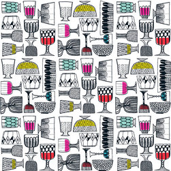 KIPPIS Upholstery Fabric by Marimekko - Although recently designed, this eclectic and vibrant print has a fun retro-atomic feel that will make you want to mix up a 1960s cocktail with a swizzle stick.
