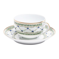 Raynaud - Alle Royale Porcelain Tea Cup and Saucer - Each piece of this collection flaunts a subtle floral design in a soothing blue palette with gold accents. The delicate detail on this dinnerware makes a classic yet eye-catching addition to your tabletop.