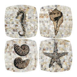 Thirsty Stone - 4 Pc Pearlized Coastal Appetizer & Dessert Plates Set - Set includes 4 pcs. appetizer plates. Rubber gasket on bottom keeps plate in place. Fits most wine and drinking glasses. Made of Porcelain. Dishwasher safe. No assembly required. 6.25 in. L x 6.25 in. W (2 lbs.)