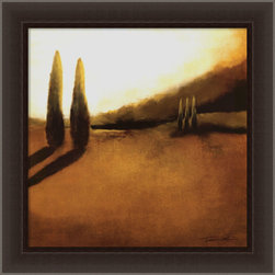 Amanti Art - Memories of Tuscany II Framed Canvas by Tandi Venter - Evocative and bathed in light and shadow, this giclée transferred canvas depicts Tuscany in a soulful way. This richly colored piece comes framed in dark espresso wood that will look so sophisticated on your wall.