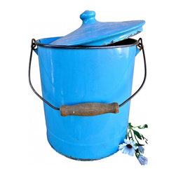 "Enamel covered pail - So useful for storage, cool for display and practical for harvesting in your garden. This vintage enamel pail is unique with its fitted cover and wooden handle. Measurements are: 9""6 x 8""6."