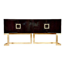 Worlds Away - Braxton Rosewood Console | Gold - Rosewood Media Console With Gold Leaf Base & Square Handles