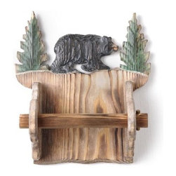 PS - Wooden Toilet Paper Holder Carved with Strolling Bear and Pine Trees - This gorgeous Wooden Toilet Paper Holder Carved with Strolling Bear and Pine Trees has the finest details and highest quality you will find anywhere! Wooden Toilet Paper Holder Carved with Strolling Bear and Pine Trees is truly remarkable.