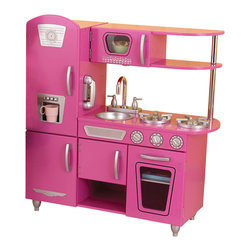 "KidKraft - Kidkraft Home Indoor Decorative Kids Play Vintage Kitchen Bubblegum - Bon Appetit. Our Vintage Kitchen in Bubblegum lets kids pretend they are cooking big feasts for the whole family. With its close attention to detail and interactive features, this adorable kitchen would make a great gift for any of the young chefs in your life. Dimension: 33""x 11.7""x 35.7"""