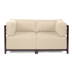 Howard Elliott - Sterling Sand Axis 2-piece Sectional - Mahogany Frame - A Fashionable Pair! Lounge in style on a Sterling Axis Loveseat. Float the Sterling Axis Loveseat in your room for an intimate seating arrangement. Expand your loveseat with additional Chair, Corner or Ottoman Pieces. This Loveseat features boxed cushions with Velcro attachments to keep the cushions from slipping and looking their best all of the time. Your Sterling Axis 2 pieces Sectional will definitely turn heads with its sophisticated linen-like texture and vibrant color selection. This Sterling Sand piece is 100% Polyester finished in a soft burlap texture in a sand color. 65 in. W x 32.5 in. D x 30 in. H