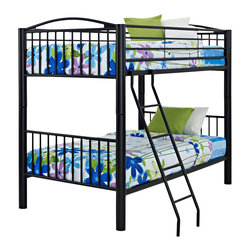 Powell - Powell Heavy Metal Black Twin Over Twin Bunk Bed - The heavy metal collection is made to withstand all of the adventures and pressures of a youth environment. Crafted of black metal, this piece easily complements the ever changing decor of a child's room. Two beds in the space for one, this piece features a twin size bed above a twin size bed. A sturdy step ladder provides easy up and down access to the top bunk. Some assembly required.