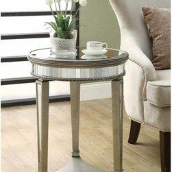 Monarch - Mirrored 20-inch Dia Accent Table - Bring a little art deco style into your abode with this glamorous 20-inch mirrored accent table. A triangular base gives this unique piece dimension,while the reflective mirrored details highlight the style of this vintage-looking piece.