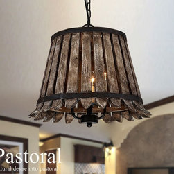 Antique Courtry Wood and 3 Lights Pendant lighting -