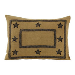 India Home Fashions - Burlap Star Sham Cover - This Burlap Star Pillow Sham Cover has the look of natural burlap with the feel of soft 100% cotton. Burlap Star Shams feature a natural tan pattern with black stars. Pair this burlap pillow sham with the coordianting Burlap Star Quilt for an instantly beautiful rustic bedroom. This Burlap Star home Decor by India Home Fashions also coordinates with Burlap Check and Burlap Natural lines.