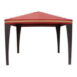 Cantina Red Patio Gazebo - This gazebo has stripes of vibrant colors mixed in with the red background. If you have an outdoor space that doesn't already have a lot of color in it, this is a great way to add an eye catching element to brighten up the space.