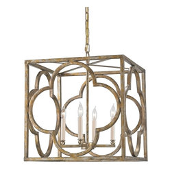 Currey and Company - Currey and Company Cosette Lantern - Material: Wrought IronFinish: Peppercorn Gold