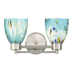 Design Classics Lighting - Modern Bathroom Light with Blue Glass in Satin Nickel Finish - 702-09 GL1021MB - Contemporary / modern satin nickel 2-light bathroom light. Takes (2) 100-watt incandescent A19 bulb(s). Bulb(s) sold separately. UL listed. Damp location rated.