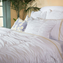 Twin/Twin XL White Ruched Textured Duvet, The Mirabel White - Layer your bed with the expressive and luxurious textures of our modern white Mirabel ruched duvet cover. With its volume and dimension, the Mirabel white ruched duvet cover is versatile and pairs beautifully with any patterned bedding, making it the ultimate choice for creating a bedroom sanctuary. Perfect for a college dorm room, or a kids bedroom!