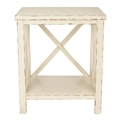 Safavieh - Mia End Table - Add shabby chic charm with the Mia end table's X detailing, a favorite motif used by designers as mullions in closets, cabinets and doors. Crafted of pine with distressed cream finish, this versatile clean-lined table complements country, coastal and traditional interiors. Minor assembly required.