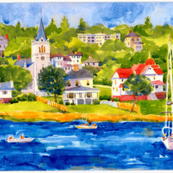Caroline's Treasures - Harbour Scene with Sailboat  Kitchen or Bath Mat 24x36 - Kitchen or Bath COMFORT FLOOR MAT This mat is 24 inch by 36 inch.  Comfort Mat / Carpet / Rug that is Made and Printed in the USA. A foam cushion is attached to the bottom of the mat for comfort when standing. The mat has been permenantly dyed for moderate traffic. Durable and fade resistant. The back of the mat is rubber backed to keep the mat from slipping on a smooth floor. Use pressure and water from garden hose or power washer to clean the mat.  Vacuuming only with the hard wood floor setting, as to not pull up the knap of the felt.   Avoid soap or cleaner that produces suds when cleaning.  It will be difficult to get the suds out of the mat.