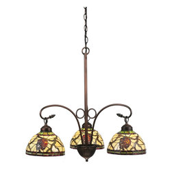 Meyda Tiffany - Meyda Tiffany Pinecone Dome 3-Light Tiffany Chandelier X-192601 - With the organic grace and tranquility of an evergreen forest, this Meyda Tiffany pinecone dome 3-light Tiffany chandelier adds a vermilion touch worth your time and consideration. The mahogany bronze finish is made to last and is sure to please. This fixture provides a bright and friendly sparkle for your bathroom, apartment, kitchen, or lounge.