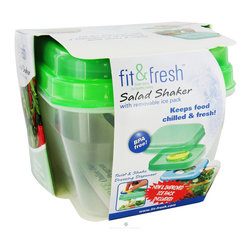 Fit & Fresh - Fit and Fresh Lunch Set with Removable Ice Pack - With the Fit and Fresh Lunch Set with Removable Ice Pack, you won't need a paper Bag or plastic sandwich Bags to pack your lunch! This unique set of nesting BPA free food Containers can carry it all at once! .