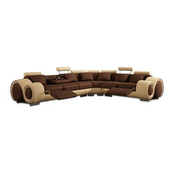 VIG Furniture - Beige and Brown Leather Sectional Sofa With Built-in Footrests - Here's a sectional with all the bells and whistles. Whether you're looking to entertain friends or create the ultimate home theater experience for your family, this two-toned sectional sofa has you covered. In addition to a wonderfully unique, contemporary look, this sectional features two recliners, seven adjustable headrests, six throw pillows and a cup holder.