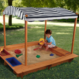 KidKraft - Outdoor Sandbox with Canopy - Outdoor Sandbox with Canopy