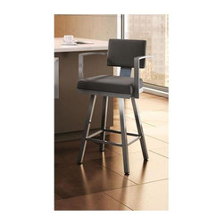 Amisco - Akers Swivel Bar Stool in Glossy Grey Finish - Fleece colored fabric upholstery. 20.63 in. W x 20.75 in. D x 42.75 in. H (31.5 lbs.)