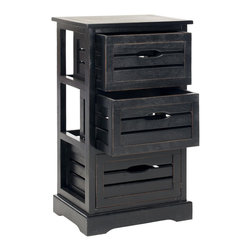 Safavieh - Safavieh Samara Black Storage 3-Drawer Cabinet - The stylish Samara three-drawer cabinet is the charming answer to all your organizational needs. Crafted of 100-percent pine wood in black finish,its three drawers and clean lines.