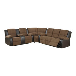 """AC Pacific - 3 pc 2 tone Peter cocoa padded microfiber and leather like upholstered sec - 3 pc 2 tone Peter cocoa padded microfiber and leather like upholstered sectional sofa with recliners on the ends and overstuffed arms and backs. This set features a sofa with recliners on the ends with overstuffed arms and backs and love seat with center console and recliners on the ends. sofa measures 80"""" x 37"""" x 39"""" H. love seat measures 71"""" x 37"""" x 39"""" H. Corner wedge measures 62"""" x 37"""" x 39"""" H. Optional single recliner also available separately and at additional cost and measures 41"""" x 37"""" x 39"""" H. Some assembly required."""