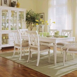 """American Drew 920-760 Leg Table Camden - Light - Leg Table - American Drew Camden - Light Collection 920-760Features:The finish on this collection is a CREAM color. (NOT White)18"""" Butterfly LeafExtend to 82""""This Price Includes:Leg TableItem:Weight:Dimensions:Leg Table165 lbs42"""" W X 30"""" H X 64"""" LManufacturer's Materials:Hardwood Solids Maple Ash Veneers & Select Hardwoods"""