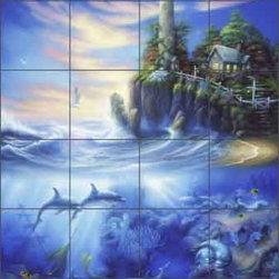 "Artwork On Tile - Miller Undersea Lighthouse Ceramic Tile Mural 24"" x 36"" - DMA2006 - * 24"" w x 36"" h x .25"" Ceramic Tile Mural on Architectural Grade, 6"" Tile w/Satin Finish"