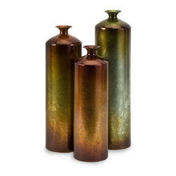 iMax - Tangerine Bottles, Set of 3 - Tall vases with unique fired finish to each vase, setting them apart from all others.